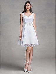 cheap -A-Line Queen Anne Knee Length Satin Custom Wedding Dresses with Lace by LAN TING BRIDE®