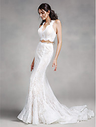 cheap -Mermaid / Trumpet V-neck Court Train Lace Wedding Dress with Lace by LAN TING BRIDE®