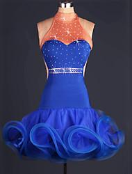 economico -Balli latino-americani Vestiti Per donna Prestazioni Satin elastico Con balze / Cristalli / Strass Senza maniche Alto Abito / Ballo latino