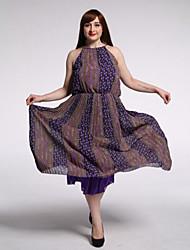 SWEET кривой женщин пляж / плюс размер Boho качели платье, печать вокруг шеи макси без рукавов фиолетовый хлопок / лен летом