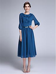 Sheath / Column Jewel Neck Tea Length Chiffon Mother of the Bride Dress with Sash / Ribbon Ruffles by LAN TING BRIDE®