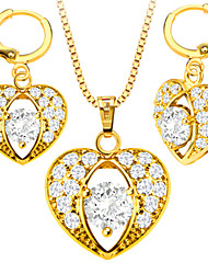 cheap -Women's Crystal Crystal Gold Zircon Jewelry Set Include Earrings Necklaces - Cute Party Casual Love Fashion Crystal Gold Zircon Copper