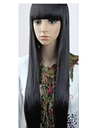 cheap -Synthetic Wig Straight With Bangs Synthetic Hair Black Wig Women's Very Long Capless