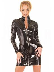 cheap -Women's Long Sleeve Zipper Shiny PVC Catsuit Slim Dress