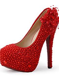 abordables -Mujer-Tacón Stiletto-TaconesBoda / Vestido / Fiesta y Noche-Tejido-Rojo