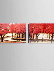 Mini Size E-HOME Oil painting Modern Little River Pink Forest Pure Hand Draw Frameless Decorative Painting