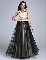 cheap -A-Line / Two Piece Boat Neck / Bateau Neck Floor Length Lace / Tulle Two Piece / Cut Out Prom / Formal Evening Dress with Beading / Appliques by TS Couture®
