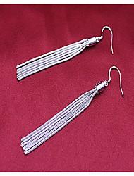 cheap -Women 925 Fine Silver Tassel Drop Earrings for Wedding Party