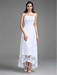 cheap -Sheath / Column Strapless Asymmetrical Lace Custom Wedding Dresses with Lace by LAN TING BRIDE®