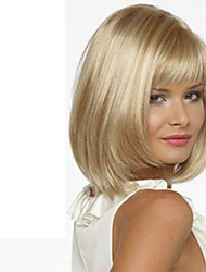 cheap -Synthetic Wig With Bangs Side Part Blonde Carnival Wig Halloween Wig Short Medium