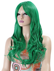 Synthetic Wigs Long Curly Wave Synthetic Hair Green Color Wig For Women Cosplay Christmas Wig