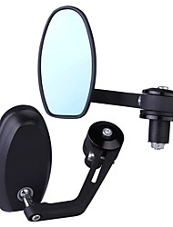 cheap -Pair Aluminum Motorcycle Motorbike Oval Side Rear View Mirror Black