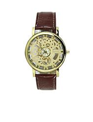 Masculino Relógio Esqueleto Impermeável Gravação Oca Relógio Casual Quartzo PU Banda Preta Marrom
