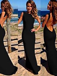 abordables -Femme Grandes Tailles Coton Robe - Dos Nu, Couleur Pleine Bateau Maxi