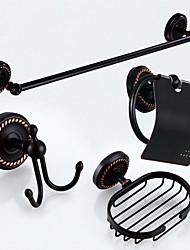 economico -Set di accessori per il bagno Antico Ottone 4pcs - Bagno dell'hotel Portasapone torre bar Appendiabiti Portarotoli