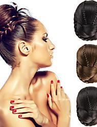 da sposa clip updo chignon bun trecce estensioni dei capelli dritti sintetiche multi colori