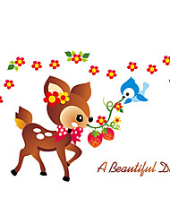 cheap -Wall Stickers Wall Decals Style Cartoon Cute Little Flower Deer PVC Wall Stickers
