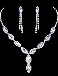 cheap -Women's Rhinestone Drop Jewelry Set Earrings / Necklace - Bridal / Elegant / Fashion Silver Jewelry Set / Drop Earrings / Pendant Necklace