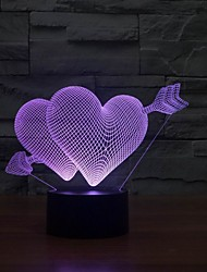 High Quality Colorful Double LOVE Heart Shape Night Light 7 Lolors Lamp LED Night Light Wall Lamps for Wedding Party