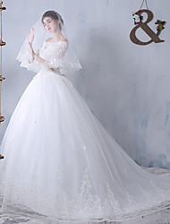 Ball Gown Bateau Sweep / Brush Train Tulle Wedding Dress with Beading by DRRS