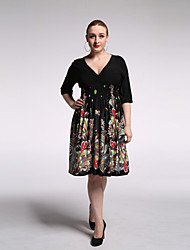 Women's Beach / Plus Size Vintage / Boho Swing Dress,Print V Neck Knee-length ¾ Sleeve Black Rayon / Polyester Summer