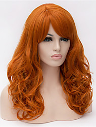 Europe and the United States New Orange Red Partial Long Curly High Roses High Temperature Wire Wig 22inch