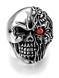 cheap -Men's Ring - Stainless Steel Skull Punk, European 8 / 9 / 10 Silver For Halloween / Gift / Daily