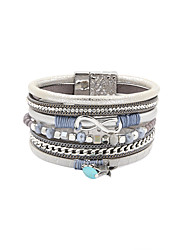 Fashion Women Multi Rows Stone Set Infinite Leather Bracelet