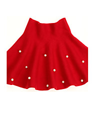 cheap -Girl's Daily Polka Dot Dress, Wool Winter Spring Fall Dot Red