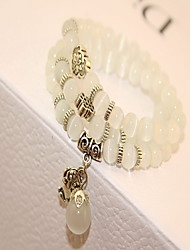 Natural Stone Gem Strand Bracelet with Cat Pedant