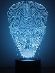 Недорогие -Удивительно, 3D LED стол lllusion лампа ночь свет с формой джокер