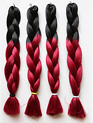 "cheap -Kanekalon Jumbo Box Braid Hair Two Tone Black Mix Red Color Length 20""100g Ombre Braiding Hair For Women"