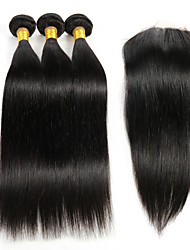 "cheap -3Pcs 8""-26"" Peruvian Straight Remy Hair Weave Extensions with 1Pc 4""x4"" Lace Top Closure Virgin Hair"
