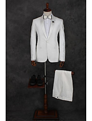 cheap -White Pattern Tailored Fit Polyester Suit - Peak Single Breasted One-button
