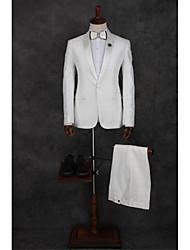 abordables -Blanc Motif Coupe Sur-Mesure Polyester Costume - En Pointe Droit 1 bouton