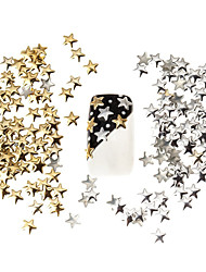 cheap -100pcs Best Price Set 5mm Silver And Golden Star Metal Studs Manicure Nail Art 3D Decorations