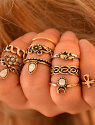 Women European Style Fashion Exaggerated Punk Vintage Bohemian Ethnic Ring Set (10 pcs)