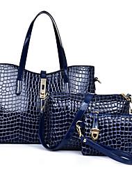 preiswerte -Damen Taschen PU Bag Set 3 Stück Geldbörse Set für Ganzjährig Blau Schwarz Rote