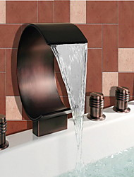 Antique Roman Tub Waterfall Widespread Handshower Included with  Ceramic Valve Two Handles Five Holes for  Oil-rubbed Bronze , Bathtub