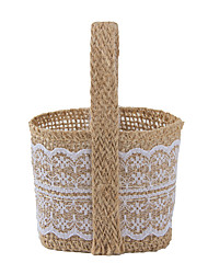 cheap -Basket Jute Favor Holder with Favor Bags Favor Tins and Pails - 6