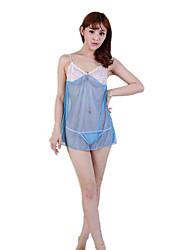 abordables -les vêtements de nuit fantaisie pour femmes& vêtements de détente costumes de nuit, dentelle sexy jacquard-mince bleu