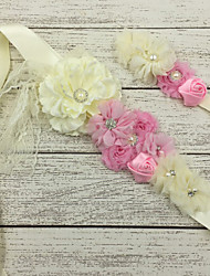 cheap -Satin Wedding Party / Evening Sash With Floral Girls' Sashes