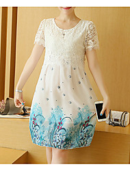 Casual/Daily Simple Loose Dress,Floral Round Neck Above Knee Short Sleeves Rayon Spring Inelastic Thin