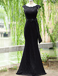 cheap -Mermaid / Trumpet Scoop Neck Floor Length Lace Evening Dress with Ribbon