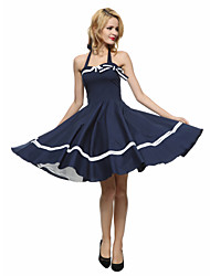 cheap -Maggie Tang Women's Plus Size Vintage A Line Dress - Solid Colored Halter