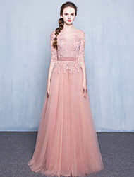 cheap -Formal Evening Dress A-line Scoop Floor-length Lace / Tulle with Appliques / Buttons / Sash / Ribbon
