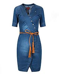 economico -Fodero Jeans Vestito Da donna-Per uscire Taglie forti Semplice Moda città Tinta unita A V Sopra il ginocchio Poliestere Estate A vita