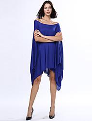 billige -Dame Plusstørrelser Løstsiddende Kjole - Ensfarvet, Krøllede Folder Asymmetrisk