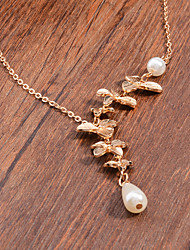 cheap -Women's Cute Drop Pearl Pendant Necklace  -  Vintage Party Casual Silver Golden Necklace For Party Daily Casual