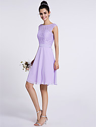 A-Line Scoop Neck Knee Length Chiffon Lace Bridesmaid Dress with Lace by LAN TING BRIDE®